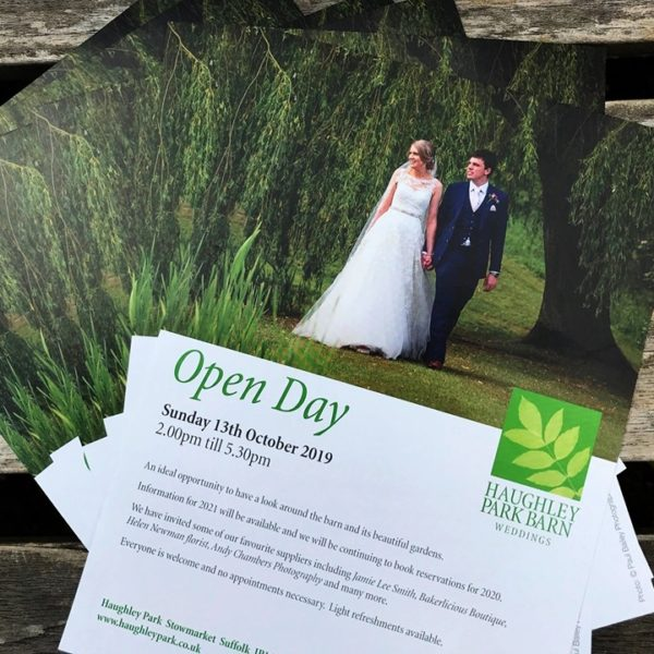 Suffolk wedding venue Open Day leaflet