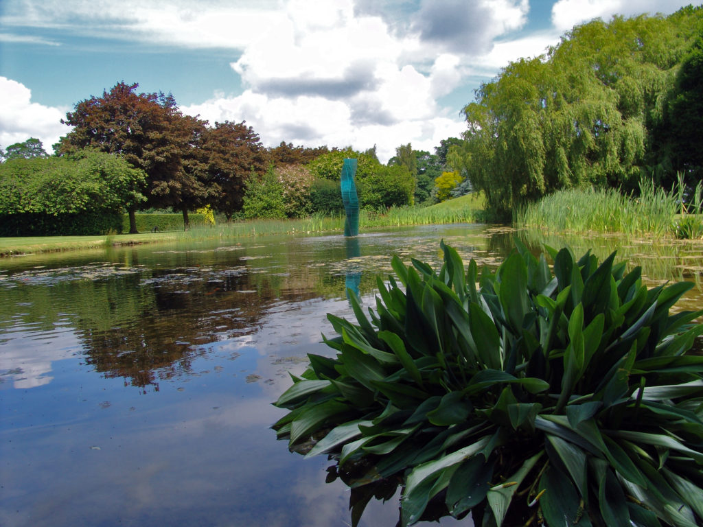 Pond and glass sculpture at Suffolk wedding venue