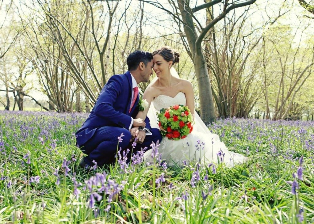 Wedding photography in Suffolk bluebells