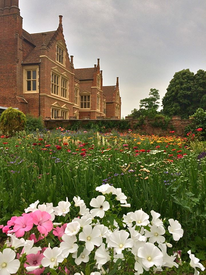 Suffolk Jacobean manor house facade and kitchen garden