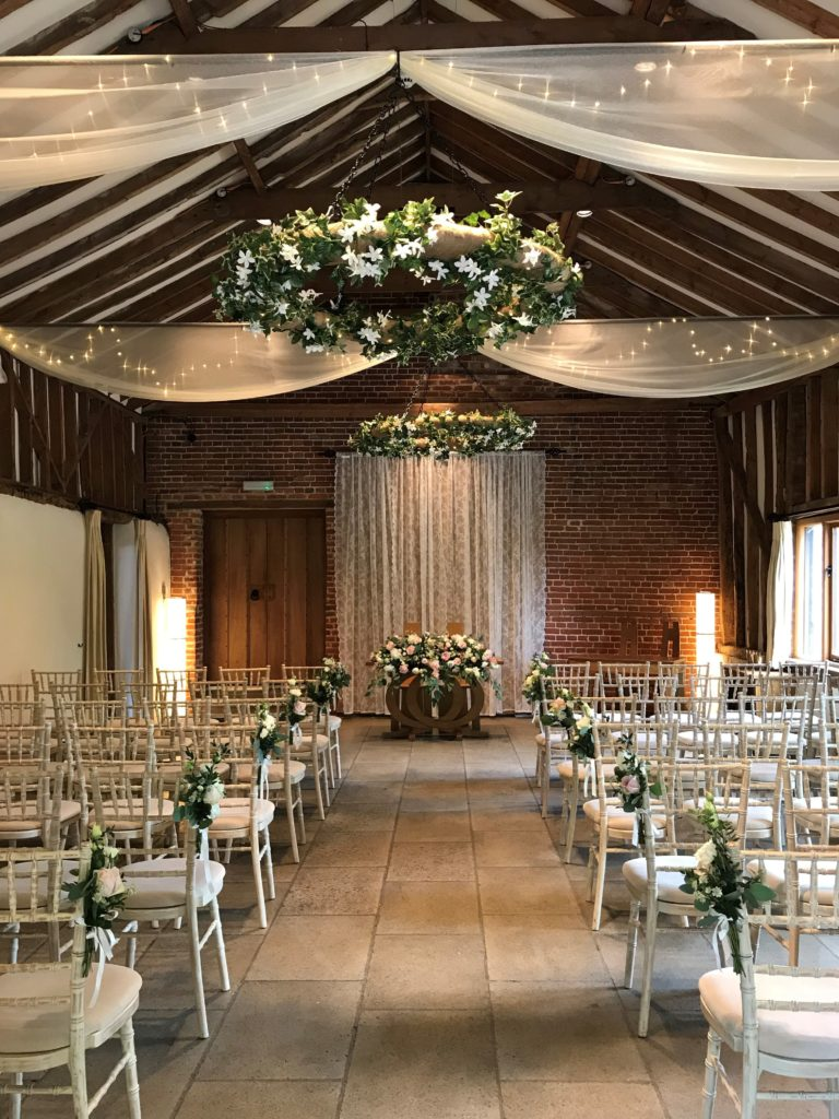 Ceremony room at wedding venue Suffolk