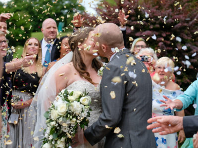 Suffolk wedding venue with confetti picture