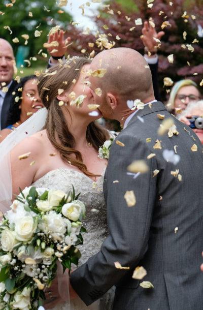 Suffolk wedding venue with confetti picture