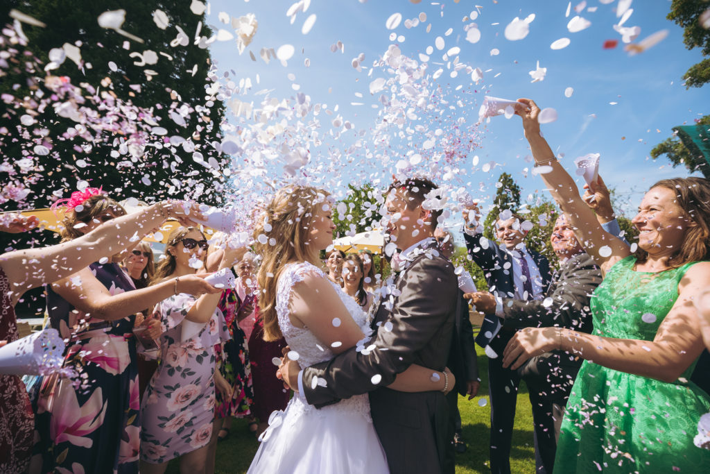 Confetti shot at Suffolk wedding venue